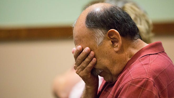 Al Muñoz, reacts during the detention hearing for Julio Gutierrez-Barrera, Friday Aug. 4, 2017 at the 3rd Judicial District Court. Gutierrez-Barrera is the suspect in the drive-by shooting death of Jocelyn Trujillo-Pierce, Muñoz's granddaughter.