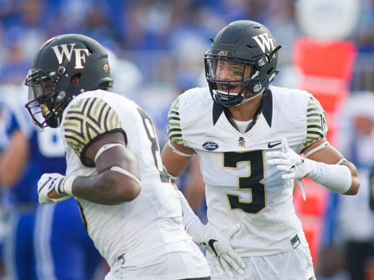 Wake Forest defensive back Jessie Bates (3) and linebacker Jaboree Williams (8) will look to shutdown Florida State's passing attack in 2017.