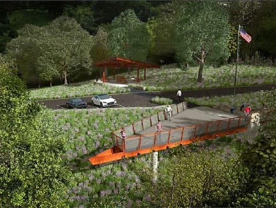 A triangle steel overlook at MacRae Park will provide