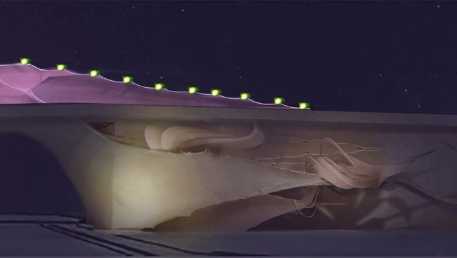 Philadelphia artist Meg Saligman's nighttime rendering of a proposed art display on the Bell Road/Grand Avenue overpass, which is under construction in Surprise. Surprise officials spent more than $60,000 on the project before deciding not to go through with it.