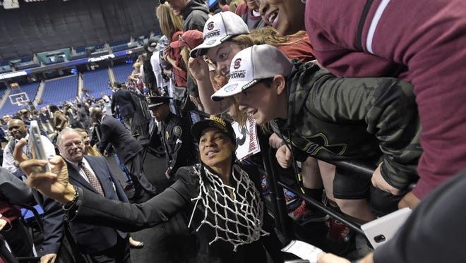 South Carolina plays Florida State during the 4th round of the NCAA Women's Tournament Sunday, March 29, 2015 at the Greensboro Coliseum in Greensboro, N.C. South Carolina head coach Dawn Staley