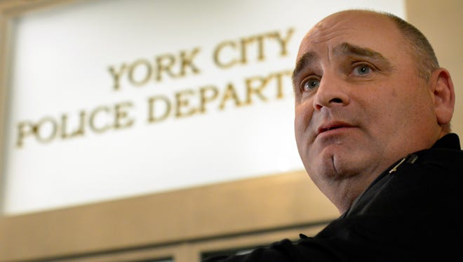 In this file photo, York City Police Chief Wes Kahley comments during the mayor's news conference on the spike in violent crime in York City, Monday, Jan. 11, 2016. (John A. Pavoncello - The York Dispatch)