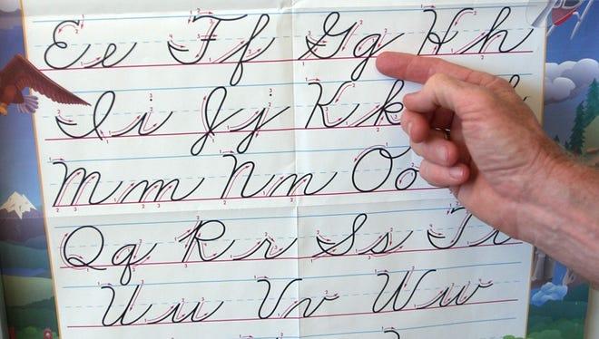 Cursive writing sample.