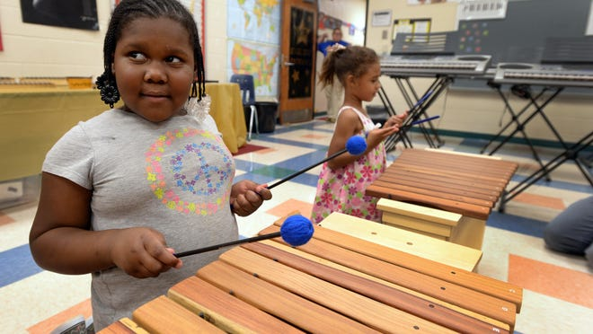 Alexander Elementary students Detoria Irby, left, and Taliyah Bailey learn to play new xylophones Friday, September 4, 2015 purchased using money Stephen Colbert donated last spring.