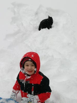 Braydon and Calypso in the snow