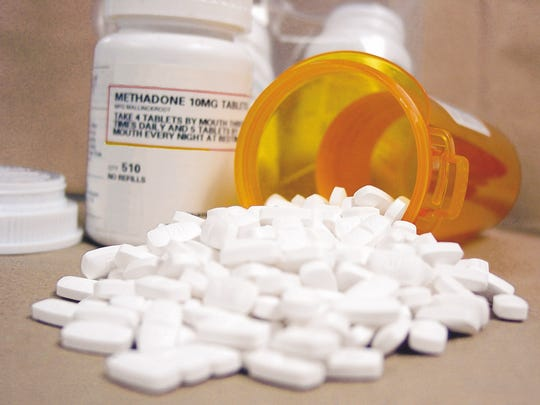 These methadone pills were seized by the Washington County Sheriff's Department during a 2009 investigation of a suspected drug dealer. Methadone is sometimes prescribed for pain and is often prescribed to recovering addicts to help wean them off of opiates such as heroin. Pictured is methadone seized from dealer.