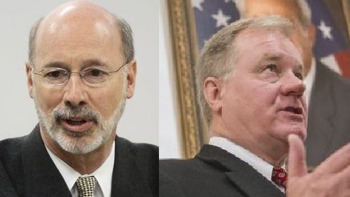 Republican State Sen. Scott Wagner, right, is vying for his party's nomination to challenge Democratic Gov. Tom Wolf in 2018.