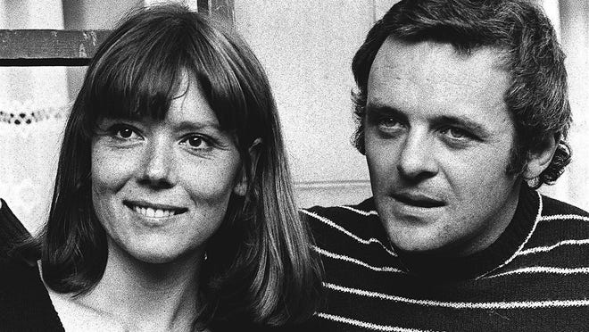 "British actress Diana Rigg and actor Anthony Hopkins attend the opening night of Macbeth in 1972 at the National Theatre, London.  Rigg, who became a 1960s style icon as secret agent Emma Peel in TV series ""The Avengers,"" has died at age 82."