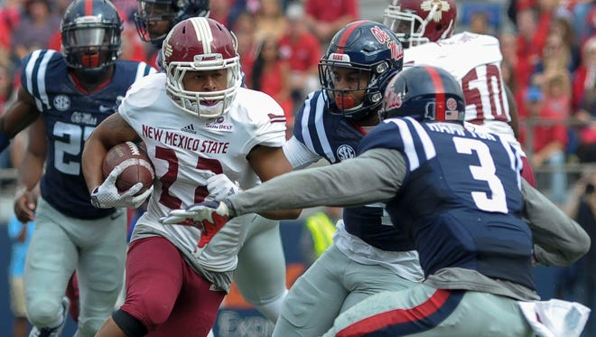 C.J. Hampton (3) never broke through at Ole Miss, making 83 tackles in four seasons as a reserve safety.