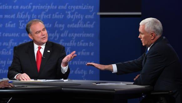 Tim Kaine and Mike Pence debate in Farmville, Va.,