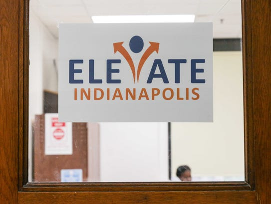 An Elevate Indianapolis poster welcomes students to