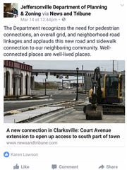 The Jeffersonville department of planning and zoning posted on Facebook in support of the Court Avenue extension.