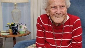 Retired QuincyCity  Hospital emergency room nurse supervisor Mary Edmonds, 102, of Cohasset in November, 2019 at Sunrise Assisted Living.  File Photo