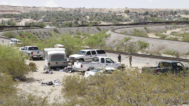 The camp of the United Constitutional Patriots, a citizen immigration patrol, sits near the U.S-Mexico border Tuesday, April 23, 2019, in Sunland Park, N.M. Members of the camp were evicted by police hours later, after a complaint that they had been trespassing on private property for around two months.