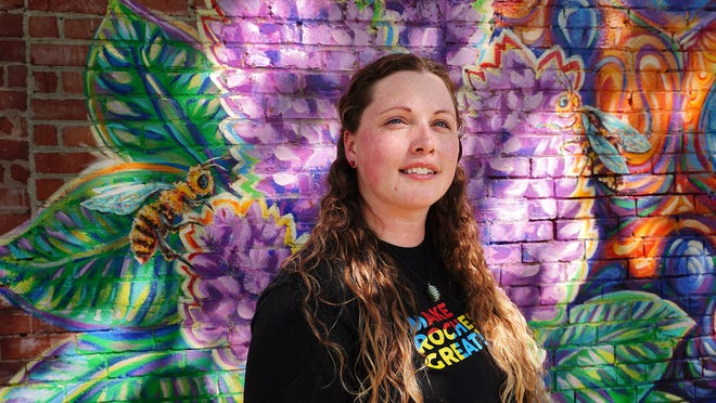 Make Rochester Great founder Jess Clay commissioned Manchester artist Rachel Carpenter to paint a colorful honeycomb mural on the side of the Hartigan block at the corner of North Main and Union streets.