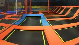 An example of what the inside of an indoor trampoline park looks like. Pictured here is an indoor trampoline park in Tallahassee, Florida.