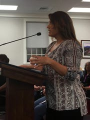 Waynesboro landlord Tanya Hardy, of Buena Vista, addresses city council over the proposed property tax rate increase in the city at a city council meeting on Monday, April 24, 2017.