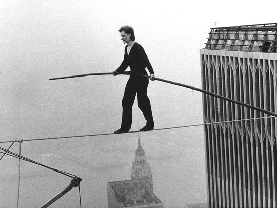 Philippe Petit's high wire walk between the World Trade