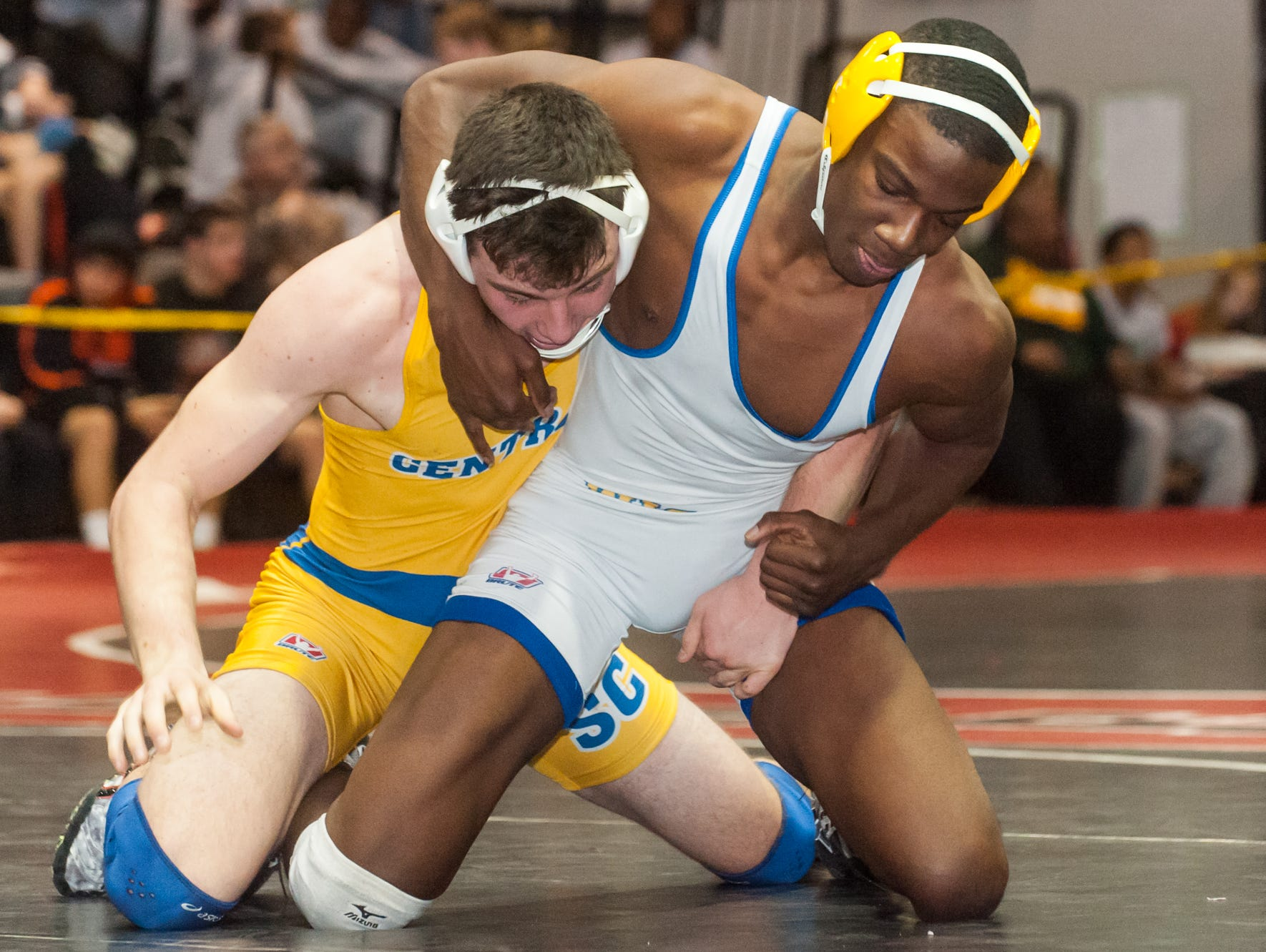 Wicomico's Josh Nichols (170lb) grapples with Sussex Central's Lucas Hudson during the Bob Rowe Memorial Classic.