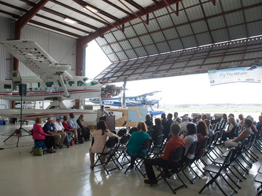 Dozens of Treasure Coast International Airport employees, local and state representatives and business owners attended a news conference celebrating the beginning of Fly the Whale's commercial flights out of Causeway Cove Marina and Treasure Coast International Airport on Friday, October 20, 2017, at the airport north of Fort Pierce.