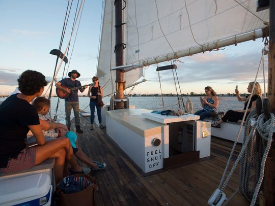 Schooner Lily crew Fred Newhart, Jamie Newhart and