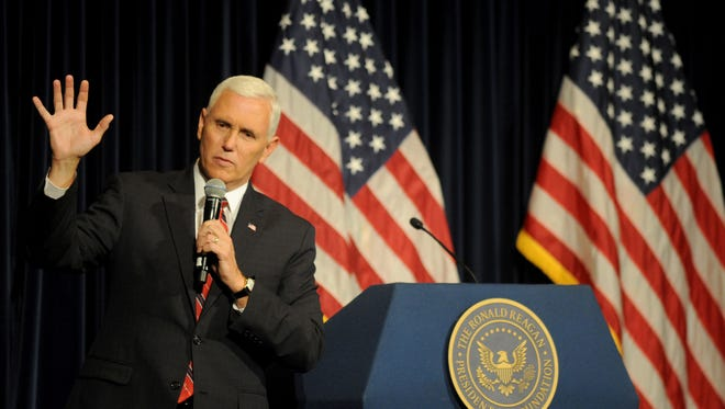 Indiana Gov. Mike Pence, the Republican nominee for vice president, speaks at the Reagan Library in Simi Valley on Thursday morning.