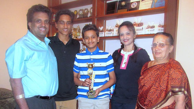 Jairam Hathwar, of Painted Post, will compete in his second Scripps National Spelling Bee this week. From left, father Jagadeesh, brother Sriram, Jairam, mother Roopa, and grandmother Bhageerathi Hathwar.
