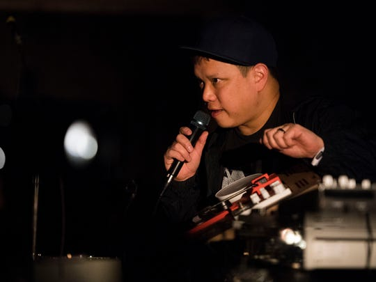 DJ Kid Koala speaks to the audience during Big Ears at The Square Room in Knoxville Friday, March 23, 2018.