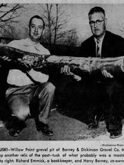The tusk of a mastodon found in Willow Point in 1954.