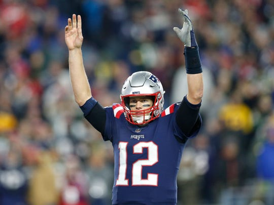 New England Patriots quarterback Tom Brady (12) reacts during the fourth quarter against the Green Bay Packers at Gillette Stadium on Nov. 4.