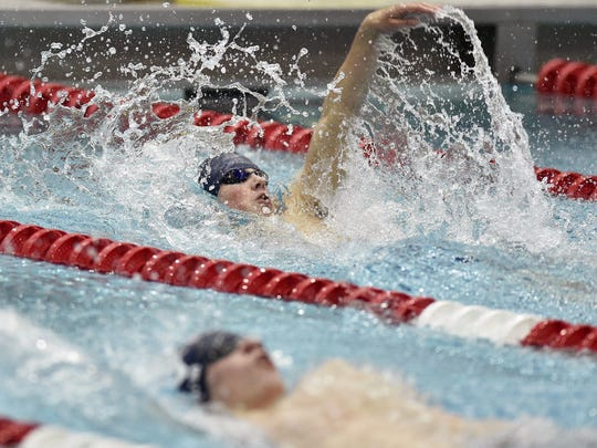 Chambersburg's Avery Barley, top, was second in the 100 backstroke in the PIAA District 3 Class 3A swimming championships. He will compete next week at states.