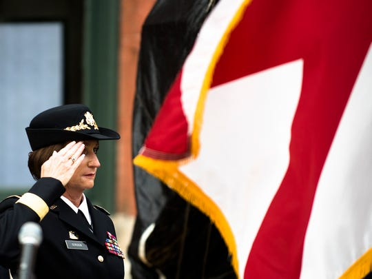 Major General Sheryl Gordon salutes during the dedication of The Rainbow Soldier memorializing the National Guard World War I 167th U.S. Infantry Regiment on Monday, Aug. 28, 2017, in Montgomery, Ala.