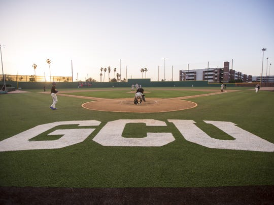 A general view of the field during the game between the Mountain Ridge Mountain Lions and the Sandra Day O'Connor Eagles at Brazell Field at Grand Canyon University on Thursday, April 19, 2018 in Phoenix, Arizona.