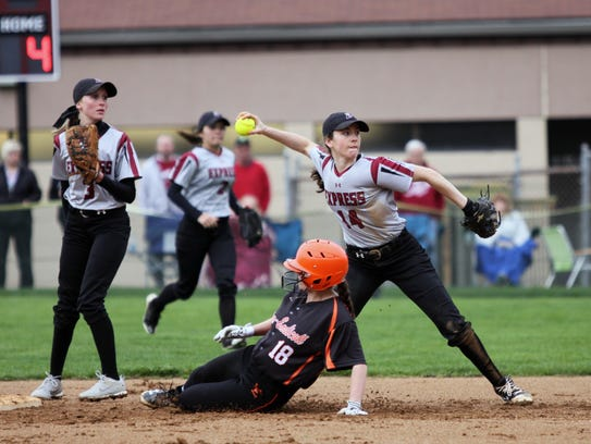 Elmira shortstop Danielle Dille throws to first base
