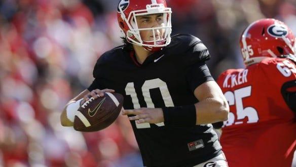 Georgia quarterback Jacob Eason is fighting for the starting job as a true freshman.