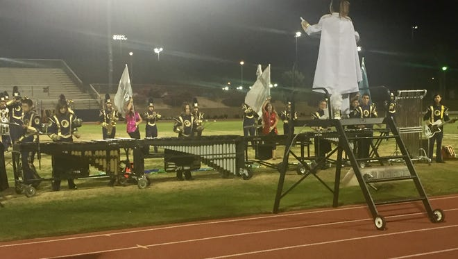 The Desert Hot Springs High School marching band plays at the ninth annual Band-O-Rama in Cathedral City.