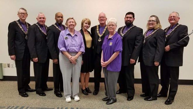 (Left to right) Ron Brown, Bob Thorburn, John Bozeman, Tracey Austin, Adrienne Bellflower, Don Dobson, Jan Thorburn, Chris Hunt, Ann Marie Hartsfield, Lou Langnehs