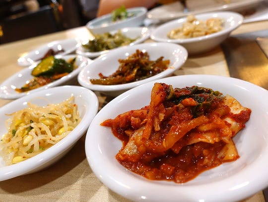 Side dishes at a Korean barbecue restaurant.