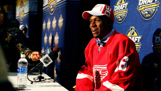 Red Wings' Givani Smith gives an interview during the 2016 NHL Draft.