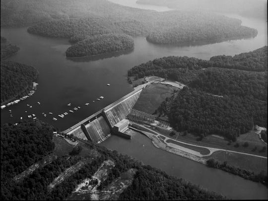 An aerial view of Norris Dam and Reservoir. Norris