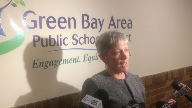 President Brenda Warren meets with reporters after the Green Bay School Board at its Jan. 23, 2017, meeting unanimously approved two referendum questions that will appear on the April 4 ballot.