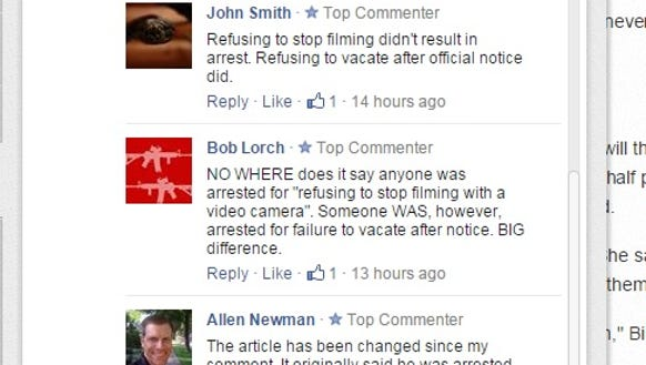 Facebook comments on a story about a shuttered hip