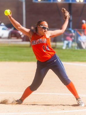 Millville pitcher Mahogany Wheeler (14) fires a pitch in a game against Cherokee last spring. The right-hander fired a pair of shutouts on Saturday as the Thunderbolts earned the title at the Ron Vinick Tournament.