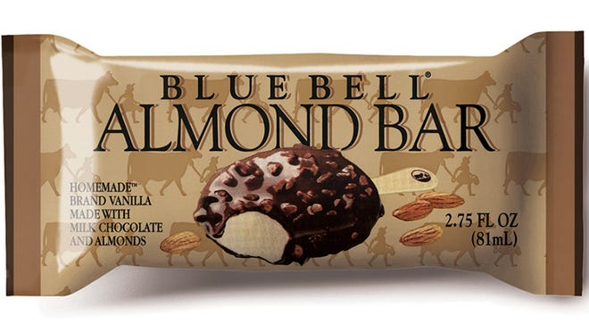 This undated photo provided by Blue Bell shows Blue Bell  Almond Bar.   The deaths of three people who developed a foodborne illness linked to some Blue Bell ice cream products have prompted the Texas icon's first product recall in its 108-year history. Five people, in all, developed listeriosis in Kansas after eating products from one production line at the Blue Bell creamery in Brenham, Texas, according to a statement Friday from the U.S. Food and Drug Administration. The FDA says listeria bacteria were found in samples of Blue Bell Chocolate Chip Country Cookies, Great Divide Bars, Sour Pop Green Apple Bars, Cotton Candy Bars, Scoops, Vanilla Stick Slices, Almond Bars and No Sugar Added Moo Bars.