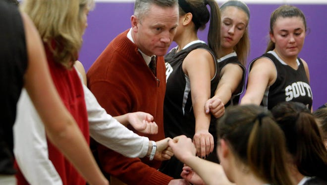 Clarkstown South coach Brian Metcalf during a girls basketball game against New Rochelle, Dec. 10, 2014 in New Rochelle.