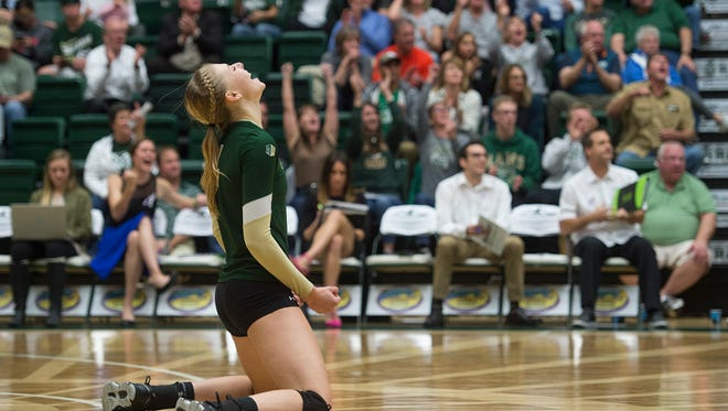CSU middle blocker Alexandra Poletto celebrates after the Rams score against UNLV at Moby Arena on Thursday. The Rams would go on to defeat the Rebels in five sets.