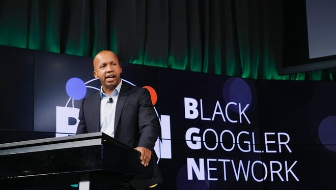 Bryan Stevenson speaking at a Black History Month celebration at Google's Mountain View, Calif., where his Equal Justice Initiative nonprofit received a $1 million racial justice grant to educate the country about it racial past from Google.org