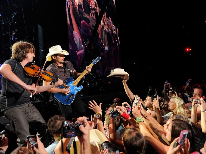 Brad Paisley performs at CMA Fest at LP Field on Sunday, June 8, 2014, in Nashville.