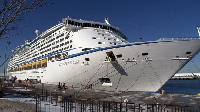 Royal Carribean's Explorer of the Seas ship is shown docked in Bayonne in January after returning early from a Caribbean cruise that sickened over 600 people.