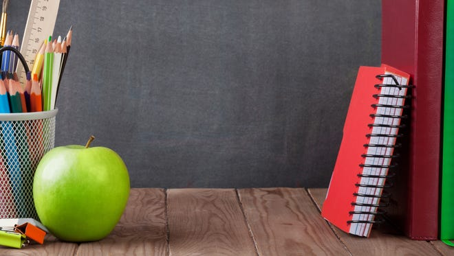 School, office supplies and apple
